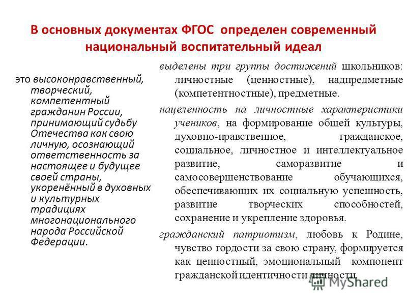 В основных документах ФГОС определен современный национальный воспитательный идеал это высоконравственный, творческий, компетентный гражданин России, принимающий судьбу Отечества как свою личную, осознающий ответственность за настоящее и будущее свое