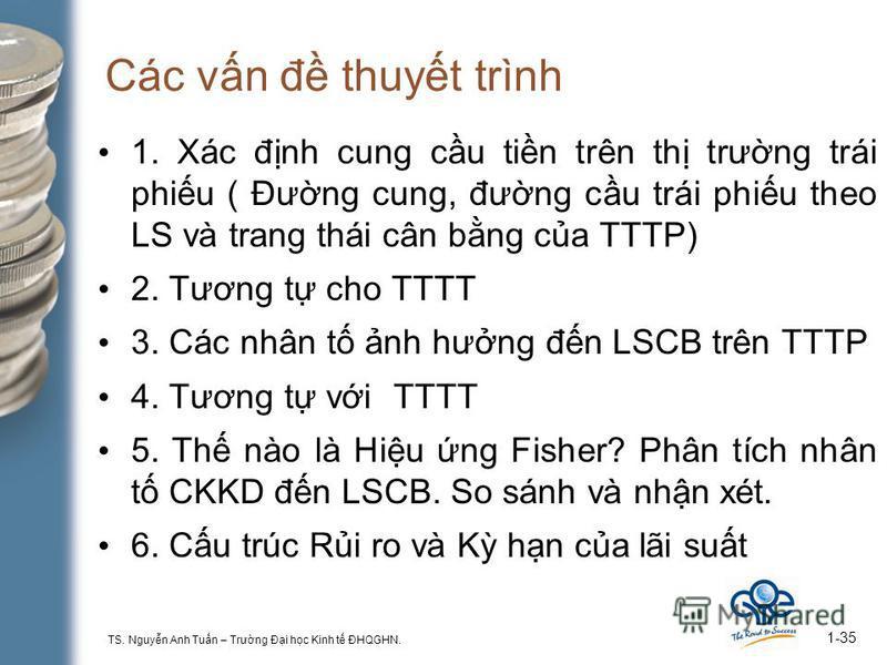 TS. Nguyn Anh Tun – Trưng Đi hc Kinh t ĐHQGHN. 1-35 Các vn đ thuyt trình 1. Xác đnh cung cu tin trên th trưng trái phiu ( Đưng cung, đưng cu trái phiu theo LS và trang thái cân bng ca TTTP) 2. Tương t cho TTTT 3. Các nhân t nh hưng đn LSCB trên TTTP