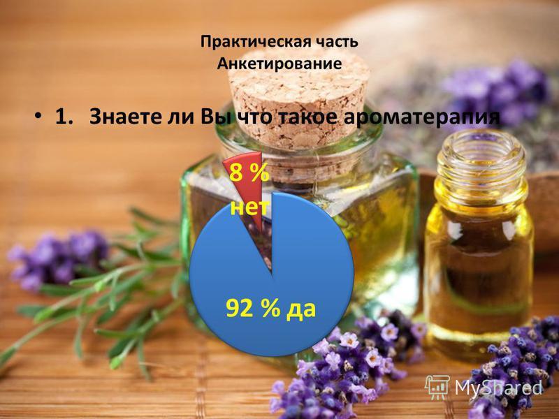 Практическая часть Анкетирование 1. Знаете ли Вы что такое ароматерапия