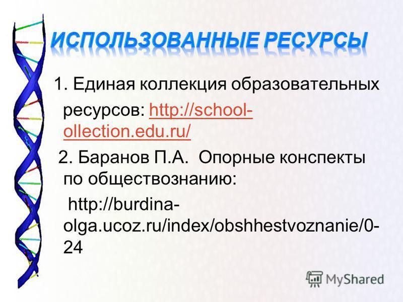 1. Единая коллекция образовательных ресурсов: http://school- ollection.edu.ru/http://school- ollection.edu.ru/ 2. Баранов П.А. Опорные конспекты по обществознанию: http://burdina- olga.ucoz.ru/index/obshhestvoznanie/0- 24