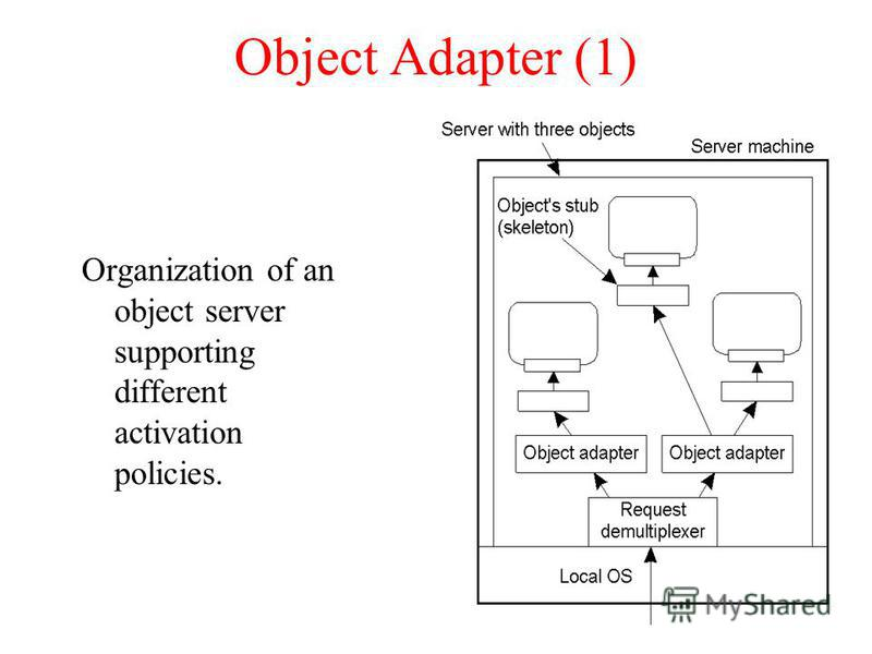 Object Adapter (1) Organization of an object server supporting different activation policies.