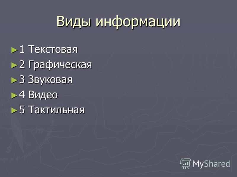 Виды информации 1 Текстовая 1 Текстовая 2 Графическая 2 Графическая 3 Звуковая 3 Звуковая 4 Видео 4 Видео 5 Тактильная 5 Тактильная