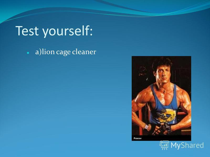 Test yourself: a)lion cage cleaner
