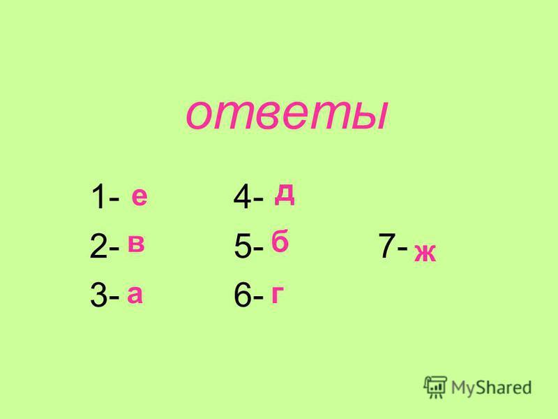 ответы 1- 4- 2- 5- 7- 3- 6- е в а д б г ж