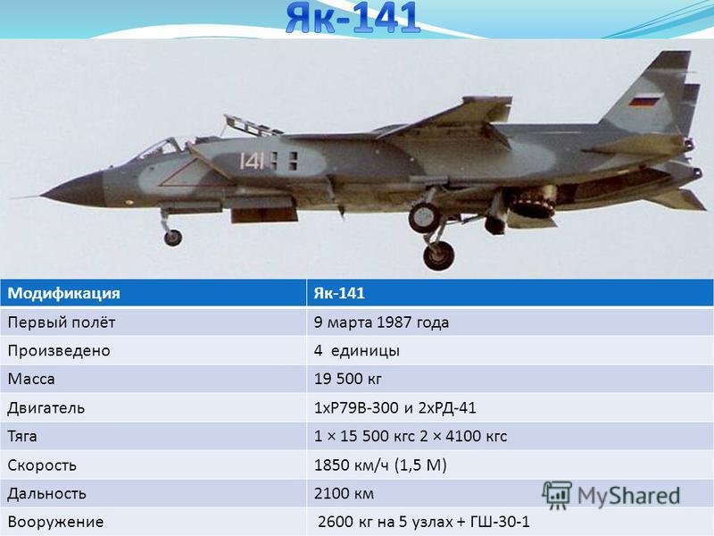Модификация Як-141 Первый полёт 9 марта 1987 года Произведено 4 единицы Масса 19 500 кг Двигатель 1 хР79В-300 и 2 хРД-41 Тяга 1 × 15 500 кгс 2 × 4100 кгс Скорость 1850 км/ч (1,5 М) Дальность 2100 км Вооружение 2600 кг на 5 узлах + ГШ-30-1