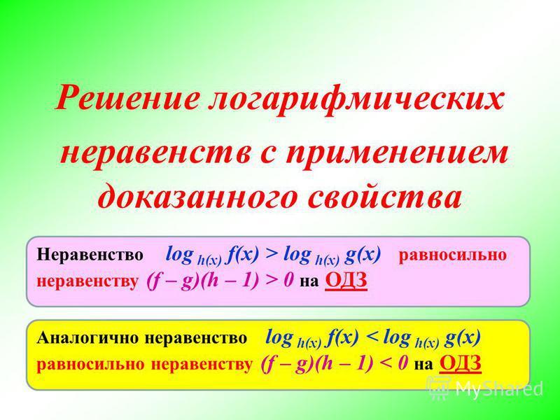 Решение логарифмических неравенств с применением доказанного свойства Аналогично неравенство log h(x) f(x) < log h(x) g(x) равносильно неравенству (f – g)(h – 1) < 0 на ОДЗ Неравенство log h(x) f(x) > log h(x) g(x) равносильно неравенству (f – g)(h –