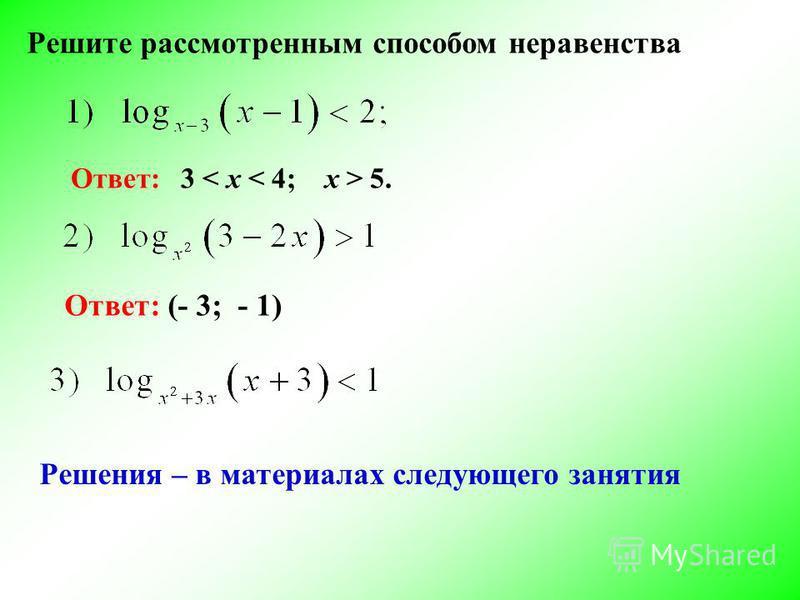 Решите рассмотренным способом неравенства Ответ: 3 5. Ответ: (- 3; - 1) Решения – в материалах следующего занятия