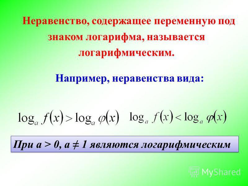 Неравенство, содержащее переменную под знаком логарифма, называется логарифмическим. Например, неравенства вида: При а > 0, а 1 являются логарифмическим