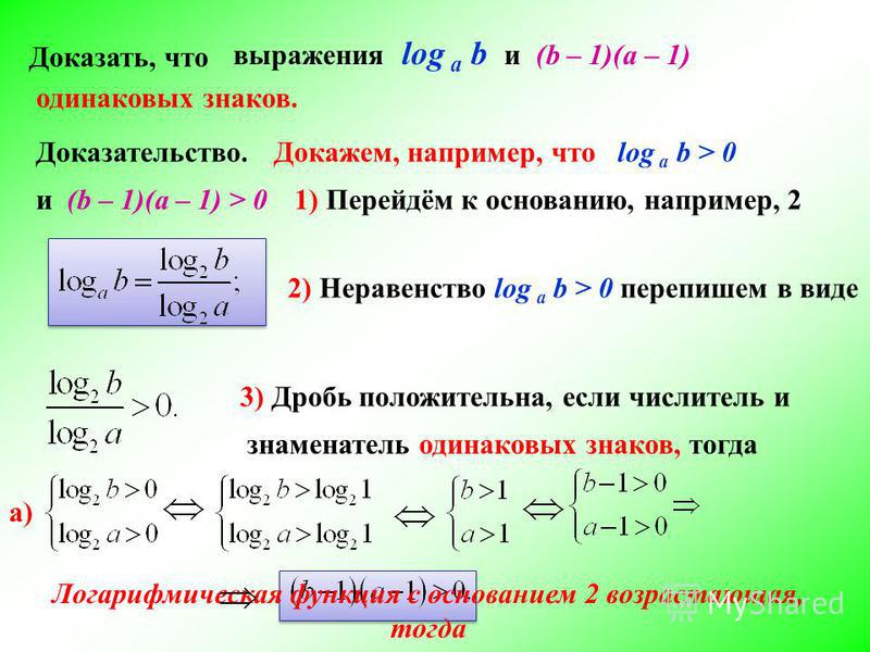 Доказать, что выражения log а b и (b – 1)(а – 1) Доказательство. 1) Перейдём к основанию, например, 2 2) Неравенство log а b > 0 перепишем в виде 3) Дробь положительна, если числитель и знаменатель одинаковых знаков, тогда одинаковых знаков. Докажем,