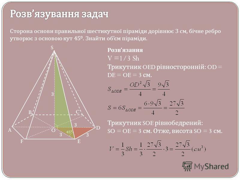 Сторона основи правильної шестикутної піраміди дорівнює 3 см, бічне ребро утворює з основою кут 45 0. Знайти об єм піраміди. S A B C D EF O 3 3 3 45 0 Розв язання V =1/3 Sh Трикутник OED рівносторонній : OD = DE = OE = 3 см. Трикутник SOE рівнобедрен