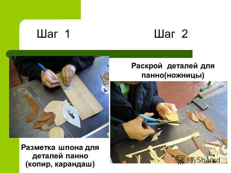 Разметка шпона для деталей панно (копир, карандаш) Раскрой деталей для панно(ножницы) Шаг 1Шаг 2