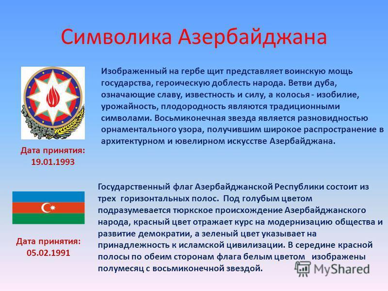 Символика Азербайджана Изображенный на гербе щит представляет воинскую мощь государства, героическую доблесть народа. Ветви дуба, означающие славу, известность и силу, а колосья - изобилие, урожайность, плодородность являются традиционными символами.