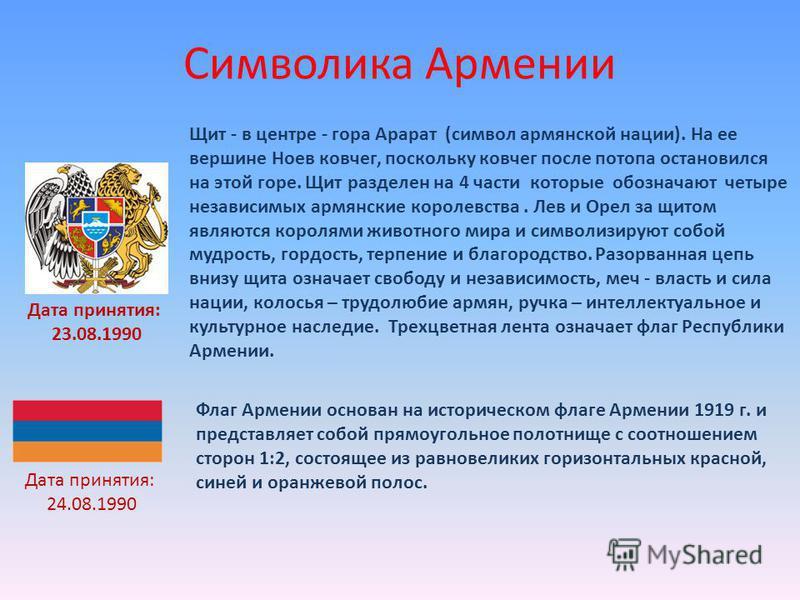 Символика Армении Щит - в центре - гора Арарат (символ армянской нации). На ее вершине Ноев ковчег, поскольку ковчег после потопа остановился на этой горе. Щит разделен на 4 части которые обозначают четыре независимых армянские королевства. Лев и Оре