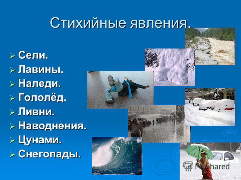 Стихийные явления. Сели. Сели. Лавины. Лавины. Наледи. Наледи. Гололёд. Гололёд. Ливни. Ливни. Наводнения. Наводнения. Цунами. Цунами. Снегопады. Снегопады.