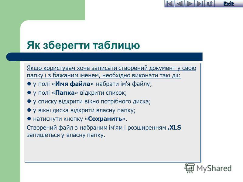 Exit Як зберегти таблицю Якщо користувач хоче записати створений документ у свою папку і з бажаним іменем, необхідно виконати такі дії: у полі «Имя файла» набрати ім'я файлу; у полі «Папка» відкрити список; у списку відкрити вікно потрібного диска; у