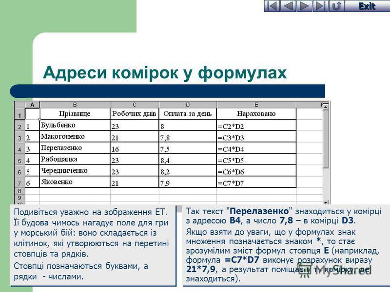 Exit Адреси комірок у формулах Так текст