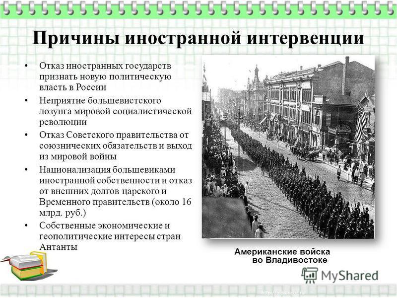 Причины иностранной интервенции Отказ иностранных государств признать новую политическую власть в России Неприятие большевистского лозунга мировой социалистической революции Отказ Советского правительства от союзнических обязательств и выход из миров