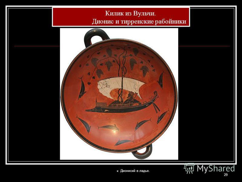 « Дионисий в ладье. 29 Килик из Вульчи. Дионис и тирренское разбойники Килик из Вульчи. Дионис и тирренское разбойники