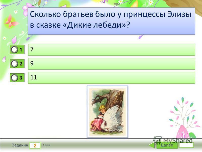 ProPowerPoint.ru Далее 2 Задание 1 бал. Сколько братьев было у принцессы Элизы в сказке «Дикие лебеди»? 1111 2222 3333