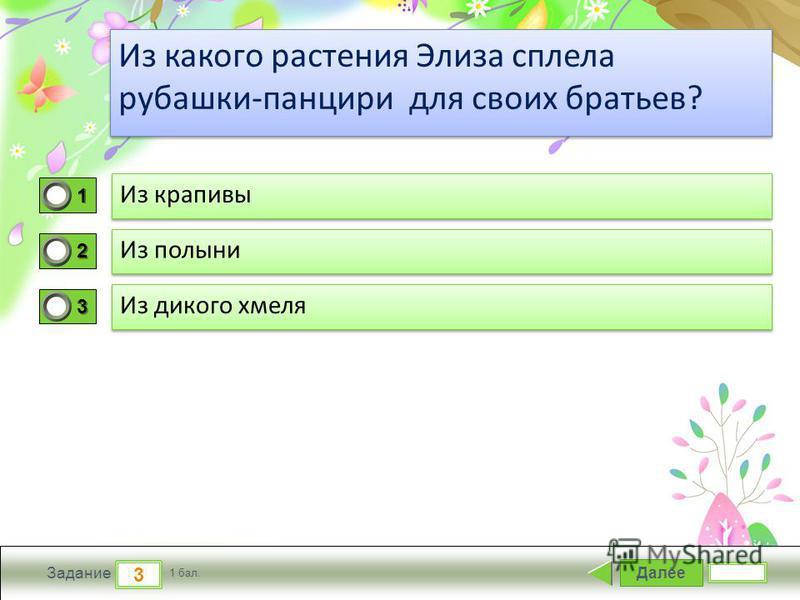 ProPowerPoint.ru Далее 3 Задание 1 бал. 1111 2222 3333 Из какого растения Элиза сплела рубашки-панцири для своих братьев?