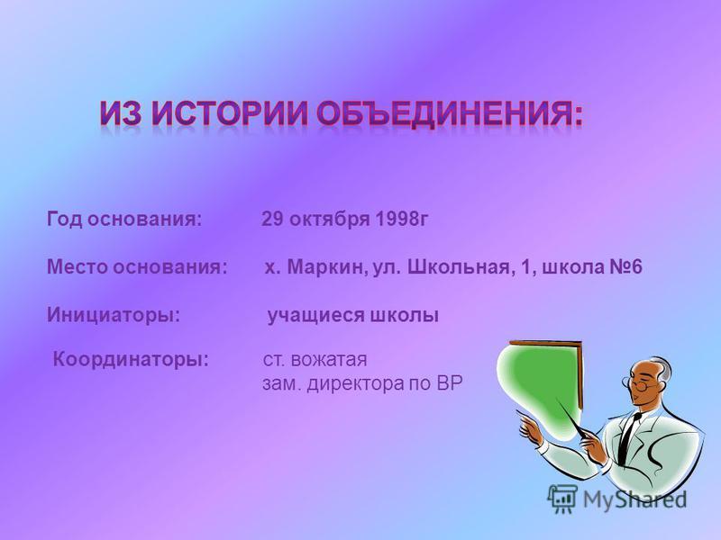Год основания: 29 октября 1998 г Место основания: х. Маркин, ул. Школьная, 1, школа 6 Инициаторы: учащиеся школы Координаторы: ст. вожатая зам. директора по ВР