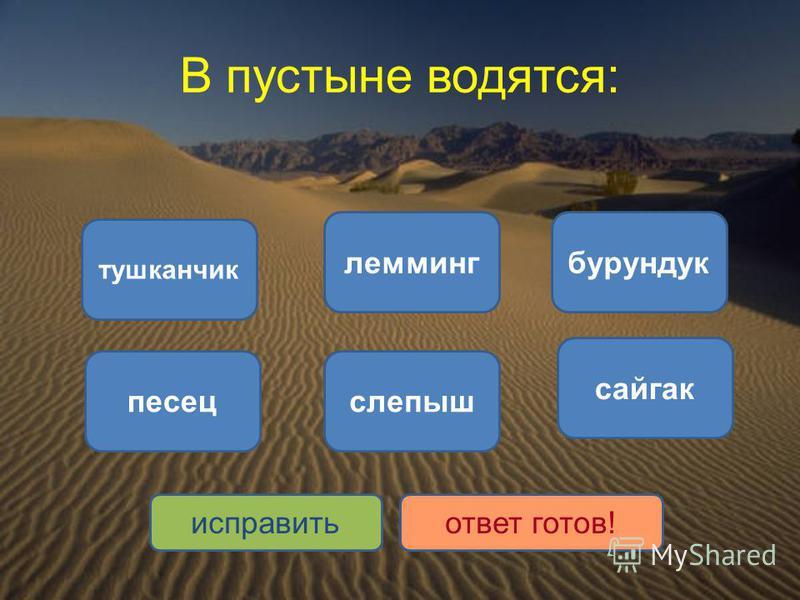 В пустыне водятся: тушканчик сайгак слепыш лемминг бурундук песец исправить ответ готов!