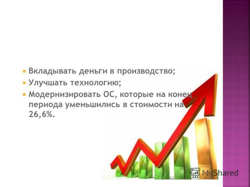 Вкладывать деньги в производство; Улучшать технологию; Модернизировать ОС, которые на конец периода уменьшились в стоимости на 26,6%.