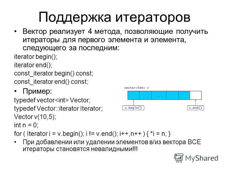 Поддержка итераторов Вектор реализует 4 метода, позволяющие получить итераторы для первого элемента и элемента, следующего за последним: iterator begin(); iterator end(); const_iterator begin() const; const_iterator end() const; Пример: typedef vecto