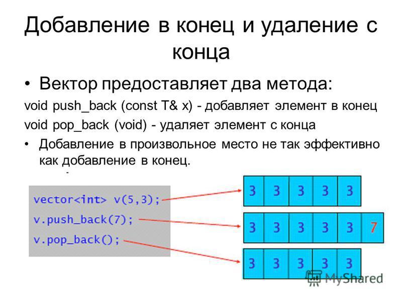 Добавление в конец и удаление с конца Вектор предоставляет два метода: void push_back (const T& x) - добавляет элемент в конец void pop_back (void) - удаляет элемент с конца Добавление в произвольное место не так эффективно как добавление в конец. Пр