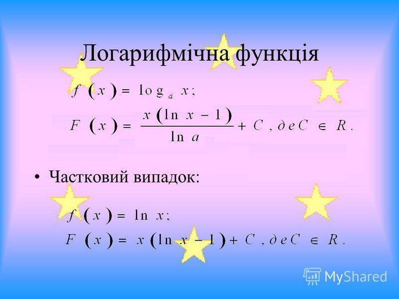 Логарифмічна функція Частковий випадок: