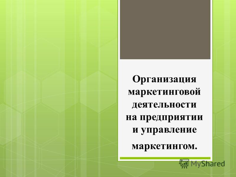 Организация маркетинговой деятельности на предприятии и управление маркетингом.