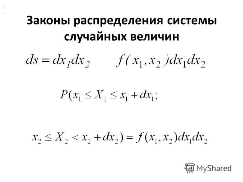 Законы распределения системы случайных величин ;.