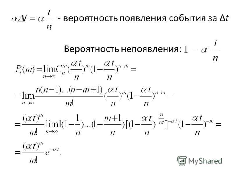 - вероятность появления события за Δt Вероятность непоявления: