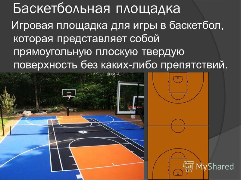 Баскетбольная площадка Игровая площадка для игры в баскетбол, которая представляет собой прямоугольную плоскую твердую поверхность без каких-либо препятствий.