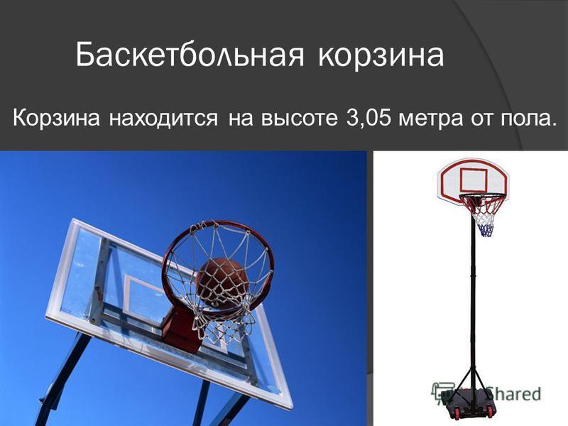 Баскетбольная корзина Корзина находится на высоте 3,05 метра от пола.