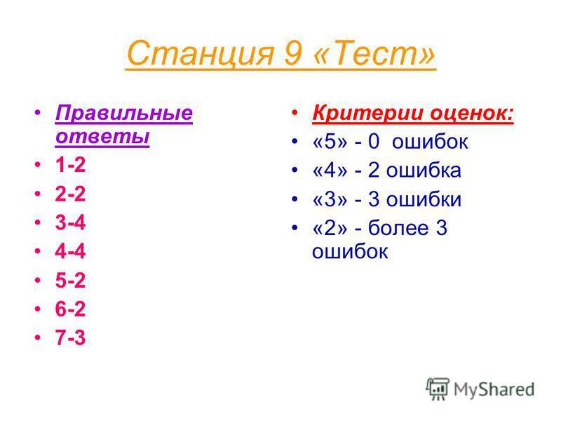 Станция 9 «Тест» Правильные ответы 1-2 2-2 3-4 4-4 5-2 6-2 7-3 Критерии оценок: «5» - 0 ошибок «4» - 2 ошибка «3» - 3 ошибки «2» - более 3 ошибок