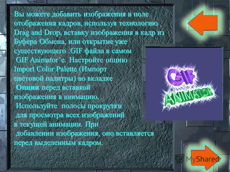 GIF Animator содержит панель инструментов, поле отображения кадров анимации, полосы прокрутки, и три вкладки: Опции, которая появляется сразу после открытия GIF Animatorа, а также Анимация, и Изображение, которые появляются Изображение, которые появл