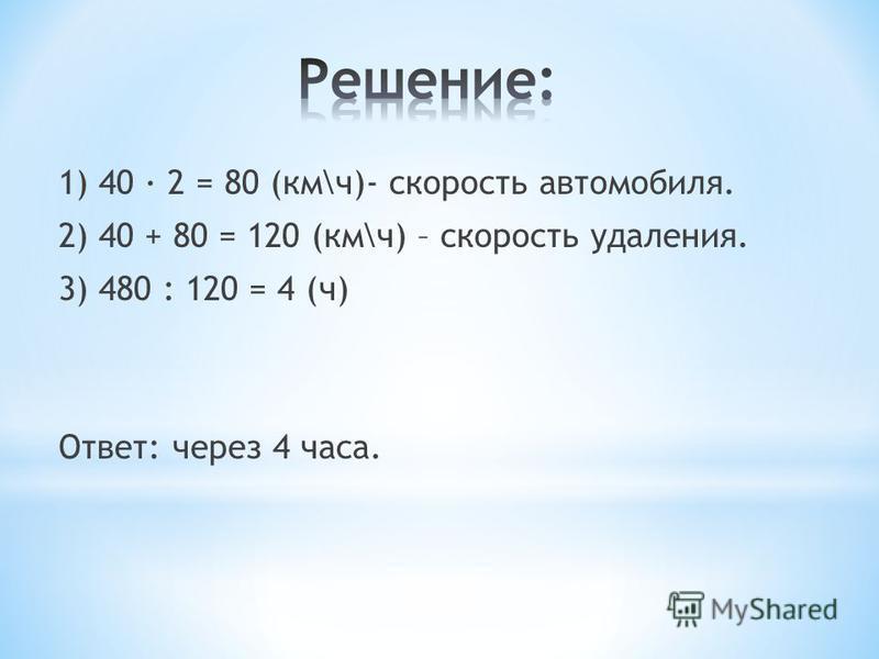 1) 40 · 2 = 80 (км\ч)- скорость автомобиля. 2) 40 + 80 = 120 (км\ч) – скорость удаления. 3) 480 : 120 = 4 (ч) Ответ: через 4 часа.