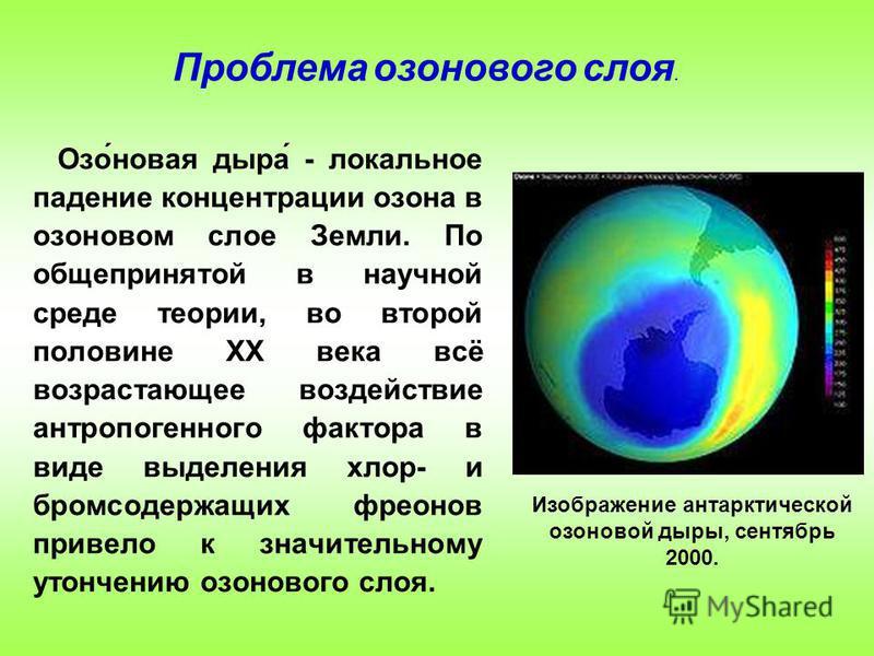 Озо́новая дыра́ - локальное падение концентрации озона в озоновом слое Земли. По общепринятой в научной среде теории, во второй половине XX века всё возрастающее воздействие антропогенного фактора в виде выделения хлор- и бромсодержащих фреонов приве