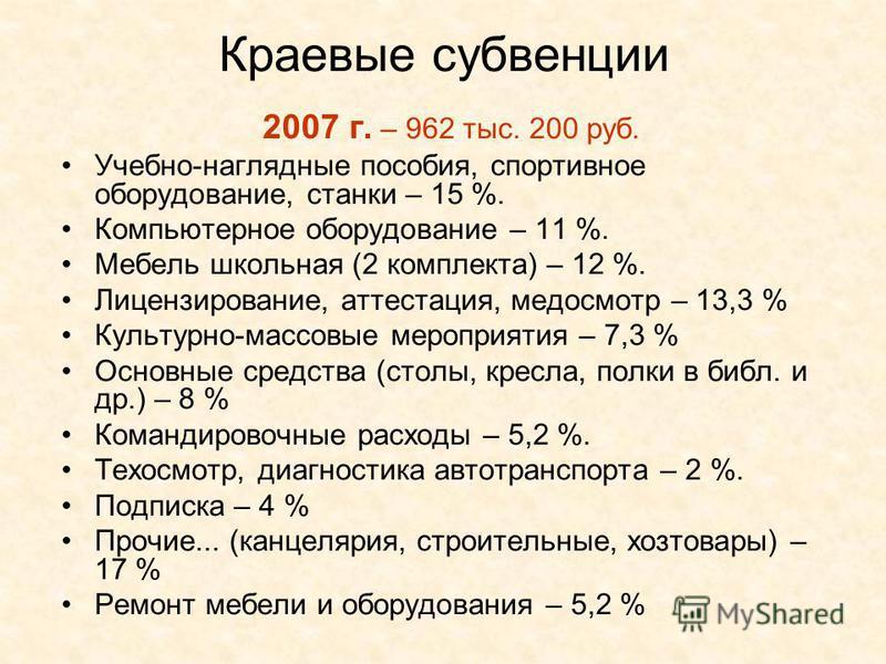 Краевые субвенции 2007 г. – 962 тыс. 200 руб. Учебно-наглядные пособия, спортивное оборудование, станки – 15 %. Компьютерное оборудование – 11 %. Мебель школьная (2 комплекта) – 12 %. Лицензирование, аттестация, медосмотр – 13,3 % Культурно-массовые
