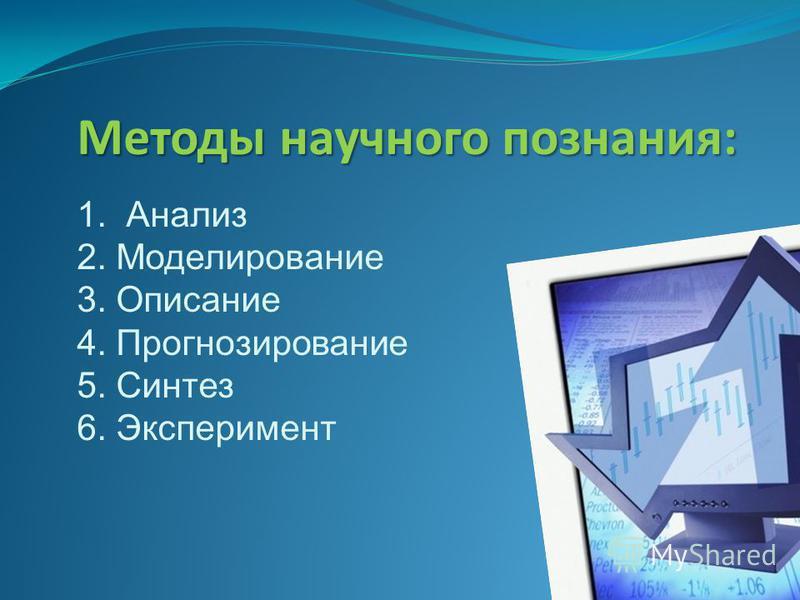 Методы научного познания: 1. Анализ 2. Моделирование 3. Описание 4. Прогнозирование 5. Синтез 6. Эксперимент