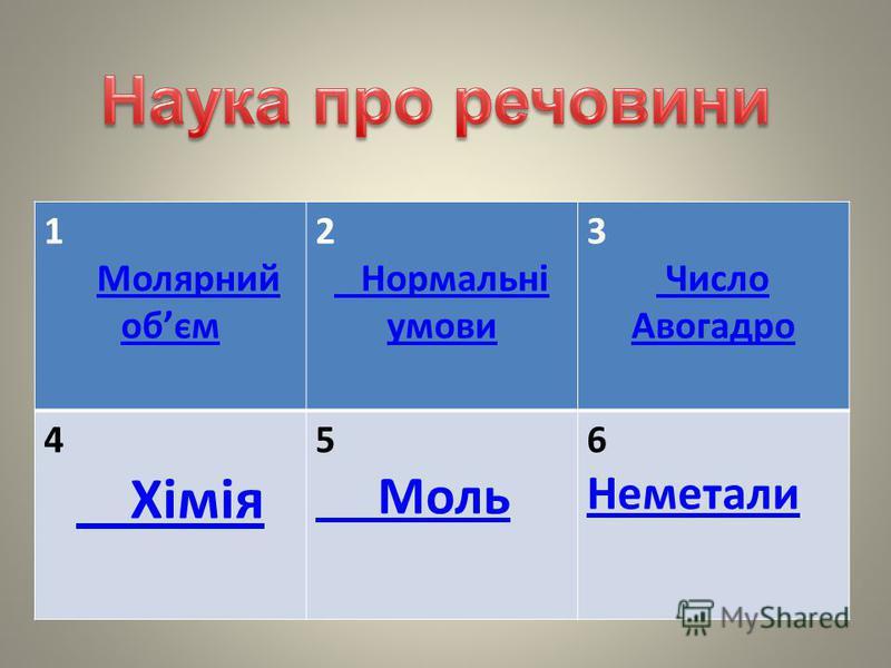 1 Молярний обємМолярний обєм 2 Нормальні умови 3 Число Авогадро 4 Хімія 5 Моль 6 Неметали Неметали