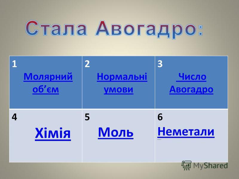 1 Молярний обємМолярний обєм 2 Нормальні умовиНормальні умови 3 Число Авогадро 4 Хімія 5 Моль 6 Неметали Неметаллы Неметали