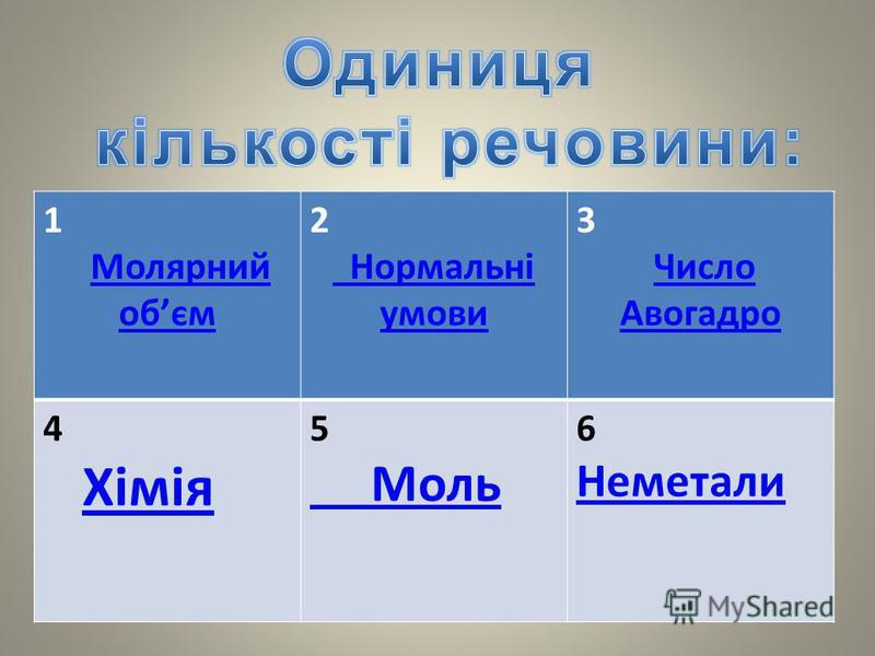 1 Молярний обємМолярний обєм 2 Нормальні умови 3 Число АвогадроЧисло Авогадро 4 Хімія 5 Моль 6 Неметали Неметали