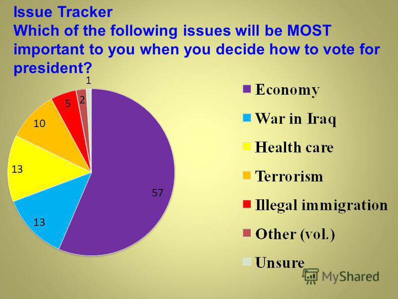 Issue Tracker Which of the following issues will be MOST important to you when you decide how to vote for president?