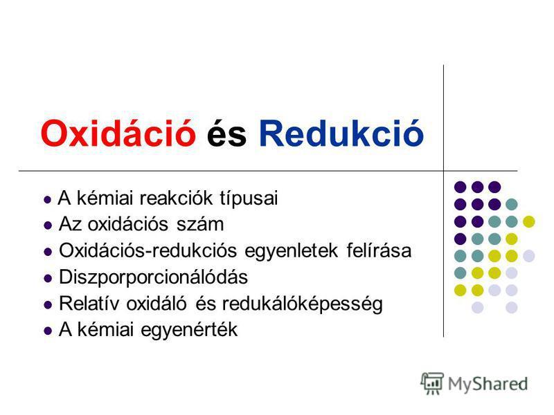 1 Oxidáció és Redukció A kémiai reakciók típusai Az oxidációs szám Oxidációs-redukciós egyenletek felírása Diszporporcionálódás Relatív oxidáló és redukálóképesség A kémiai egyenérték