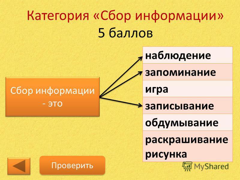 Категория «Сбор информации» 5 баллов Сбор информации - это Сбор информации - это наблюдение запоминание игра записывание обдумывание раскрашивание рисунка Проверить