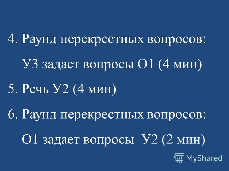 4. Раунд перекрестных вопросов: У3 задает вопросы О1 (4 мин) 5. Речь У2 (4 мин) 6. Раунд перекрестных вопросов: О1 задает вопросы У2 (2 мин)
