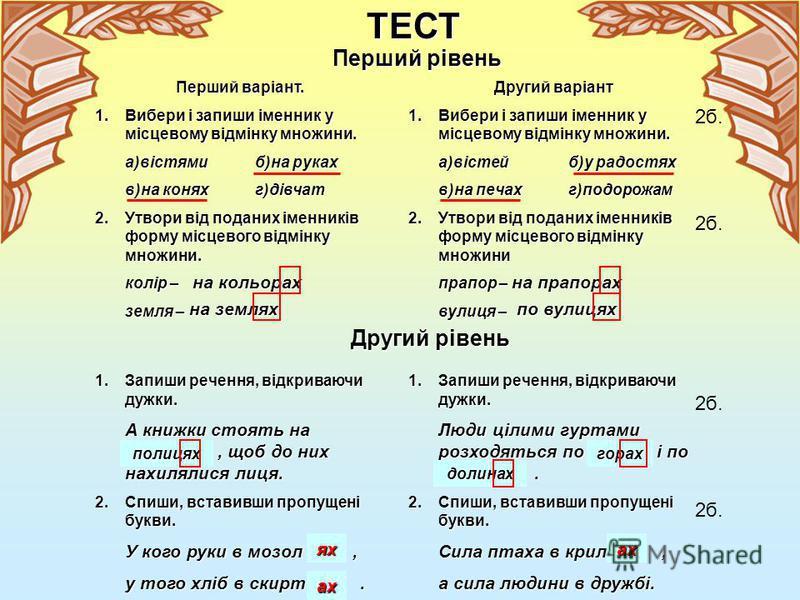 II Правопис закінчень відмінюваних слів Український