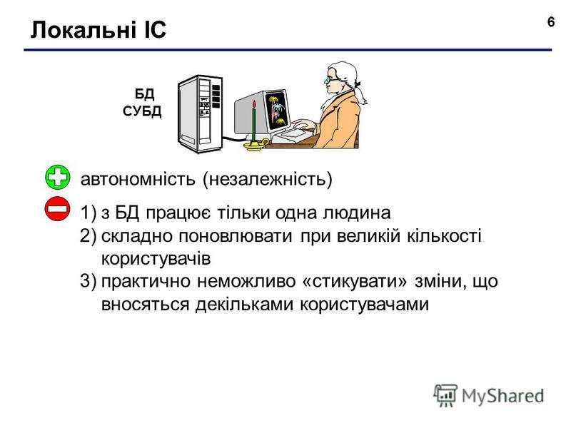6 Локальні ІС БД СУБД автономність (незалежність) 1)з БД працює тільки одна людина 2)складно поновлювати при великій кількості користувачів 3)практично неможливо «стикувати» зміни, що вносяться декільками користувачами